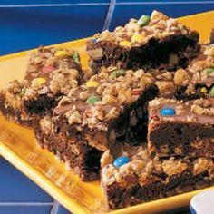 Oatmeal Brownies Recipe. The recipe makes the most of a handy packaged brownie mix, so they're fast to fix. If you don't have the mini M, use chocolate chips instead. Our kids love these rich fudgy squares with a scoop of ice cream.—Jennifer Trenhaile, Emerson, Nebraska
