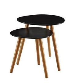 2 Piece Modern Round Coffee Table Nesting End Tables Living Room Set Solid  Wood
