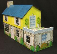 Vintage Tin Litho Dollhouse 1950's Colonial Style | eBay