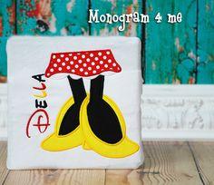 Minnie Mouse Monongram Disney Mouse Feet Applique by monogram4me
