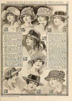 Ladies' New York Hats ~ Perry, Dame & Co 1915 Spring & Summer catalogue, pg. 78-79