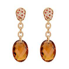 Betteridge: Betteridge Collection Oval Citrine Drop Earrings with Pavé Diamond & Sapphire Tops