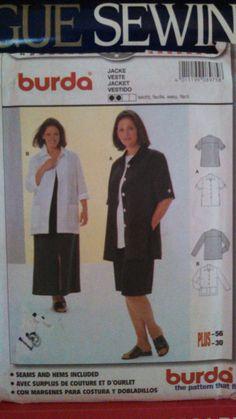 BURDA Pattern 8975-Plus Sz 18-30-Women's Very Loose Fitting Button Front Jacket/Vest-Sleeve & Pocket-Variations-Linen-Lightweight Wool-UNCUT by PaperDiversities on Etsy