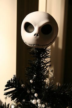 this is my christmas tree topper! its actually just an antenna ball from hot topic Fete Halloween, Halloween Trees, Halloween Christmas, Christmas Themes, Christmas Crafts, Halloween Magic, Christmas Characters, Disney Christmas, Christmas Ornaments
