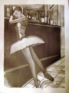 Ballerina Bar, Charcoal washed on canvas, 9 x12 . . . go to www.dawnleighcreations.com portfolio for more details.