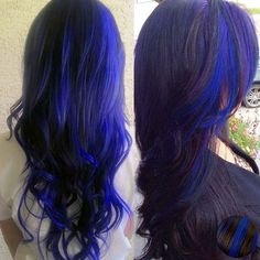 Bold Hair Color Ideas blue/purple highlights in black hair it is exciting
