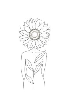Minimalist art 700943129491603298 - Minimalistic Line Art of Woman with Sunflower Hoody by Nadja – Unisex Pullover Black – LARGE – Front Print – Pullover Source by Cool Art Drawings, Pencil Art Drawings, Art Drawings Sketches, Easy Drawings, Tattoo Drawings, Drawing Ideas, Tattoo Outline Drawing, Mini Drawings, Line Art Tattoos