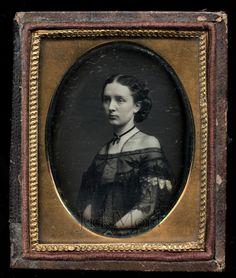 WOW 1850s Daguerreotype of Pretty Girl in Beautiful Lacy Off Shoulder Dress | eBay