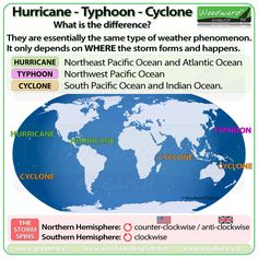 Hurricane, Typhoon, Cyclone - What is the difference? #ESL #Hurricane #Vocabulary