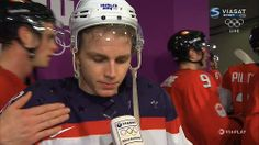 Toews giving Kane a tap in mixed zone!