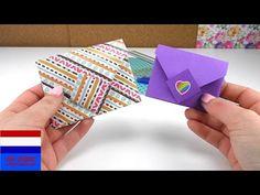origami-envelop vouwen / kleurige briefjes vouwen heel eenvoudig tutorial  Nederlands - YouTube Origami Envelope, Fold Envelope, Envelope Tutorial, Origami Diy, Loom Bands, All Video, Paper Art, Youtube, Diy Projects