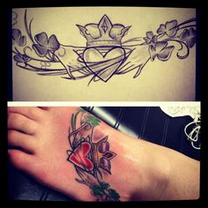 foot tattoo. irish claddagh. paper to skin.   $ respect peoples tattoos. use it as inspiration, not a flash rack $
