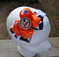 Auburn boutique layered bow by PolkaDots and PigTails