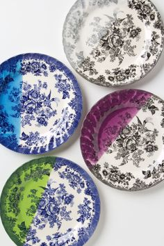 A little bit of classic, a little bit of color. #DippedToileDessertPlates #GiveGreat #Anthropologie