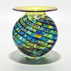 Optic Rib Flared Lip in Peacock with Topaz by Michael Trimpol and Monique LaJeunesse (Art Glass Vase) | Artful Home