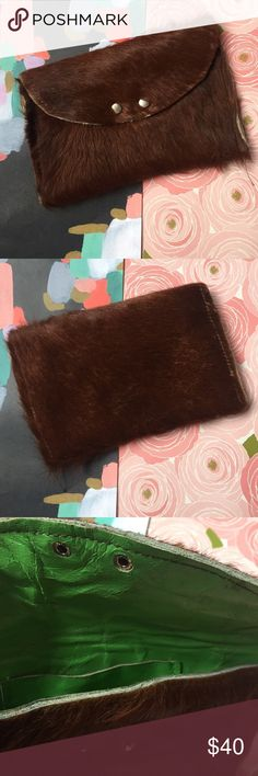 "Furry Clutch! Handmade by a friend in Brooklyn NY. Leather and pony hair. Two snap closure with green leather interior. So fun and great for a night out or quirky makeup bag. Comes with two pockets inside. Approx 6"" x 4"". Costume Baldor Bags Clutches & Wristlets"