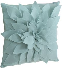 flowery aqua blue throw pillow