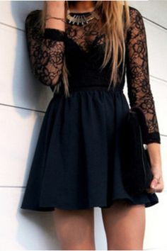 Black Lace Hollow Backless Dress ,Free Shipping!! #AAAA