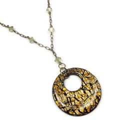 Black & Gold Pendant Necklace with Pale Lemon Swarovski Crystals Crackle Gold Leaf Polymer Clay Handmade Pendant with 20 Chain You will love wearing