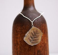 RESERVED  Fossilized fern pendant in sterling от LaurelsBench