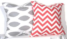 20 inch Ikat and Chevron Pillow Set - Set of 2 Chevron Pillow Covers - Grey and Coral- TWO PILLOW COVERS on Etsy, $29.00