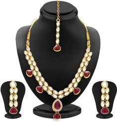 Traditional Red Stone Gold Plated Kundan CZ Party Women Jewelry Necklace Set #natural_gems15