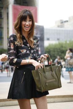 NYFW Street Style - hmmm, bird shirt - I do like it.