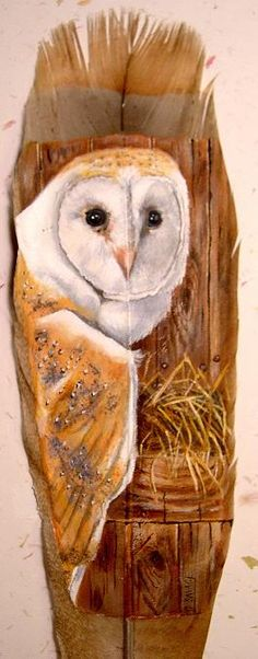 "Owl painting on TURKEY feather - Pinner writes: ""Gail Savage does amazing paintings on Turkey feathers. I own two of her pieces and I want more. Feather Painting, Feather Art, Native Art, Native American Art, Amazing Paintings, Owl Paintings, Turkey Feathers, Beautiful Owl, Gourd Art"