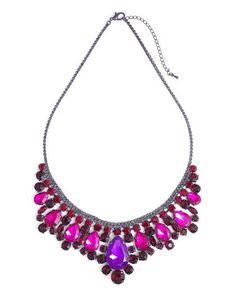 Pink & Purple Chandelier Necklace ~