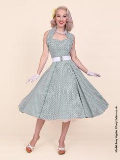aba1b0e7 1950s Halterneck Daisy Gingham Bottle Dress from Vivien of Holloway Circle  Dress, Modern Vintage Fashion
