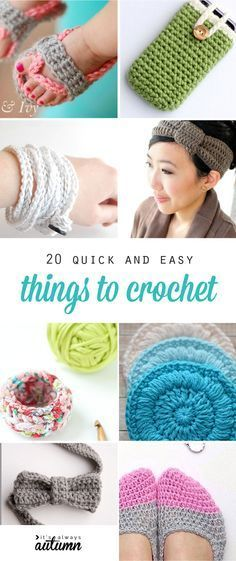 20 great ideas for quick, easy crochet projects. How to crochet. Beginner projects.