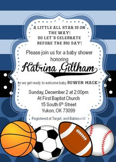Custom Printable Sports Themed Baby Boy Shower By Molliemacdesigns 20 00