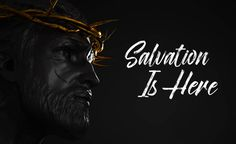salvation is here jesus christ statue with gold crown of thorns 3d
