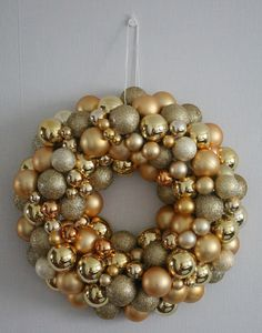 SofiaWilhelmiina: Diy: Joulukranssi joulupalloista Ornament Wreath, Ornaments, Xmas, Wreaths, Decorations, Home Decor, Natal, Homemade Home Decor, Christmas