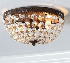 Mia Faceted-Crystal Flushmount #potterybarn two in the hallway