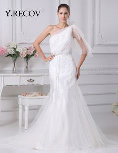 Bride Dresses YD2078 Trumpet Sweep Train One Shoulder Modest Mermaid Wedding Dress Wedding Gown 2017 * AliExpress Affiliate's Pin. View the item in details by clicking the image