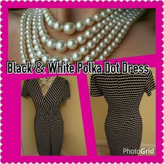 Black / white polka dot dress 70% polyester 30% cotton. Very cute and classy dress. I just need to downsize my closet a bit. The second pic is not the actual dress, its style inspiration only. Worn but in great condition. Please contact me with any questions. Thanks for looking. Dresses