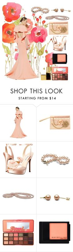 """peach gown"" by aries-indonesia ❤ liked on Polyvore featuring Chanel, Nina, Too Faced Cosmetics, Maybelline and Tom Ford"