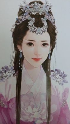 Collection of Qin Xuan dream to hand - painted _ petals Beautiful Fantasy Art, Beautiful Anime Girl, Ancient Art, Ancient China, Traditional Hairstyle, Painting Of Girl, Girl Paintings, Fantasy Paintings, China Art