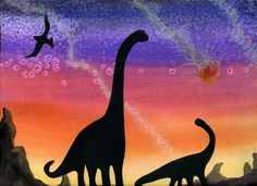 Prehistoric art: black dinosaur silhouettes on watercolor background