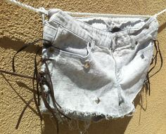 Fringe Bleached Black & Gray Cosmic Silver Studs Design Cotton Shorts hotpants High Waisted Shorts Size Small 9. $29.99, via Etsy.