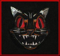 Vintage styled Halloween Black Cat hanging wall lantern...  $40.00
