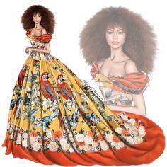 Zendaya wearing a Dolce & Gabbana Alta Moda dress at #metgala2017 #digitaldrawing by @David Mandeiro Illustrations Wacom #digitaldrawing #Zendaya #DolceGabbana #Wacom #digitalart #fashionshow #AdobePhotoshopElementsEditor #Wacomcreativeseurope