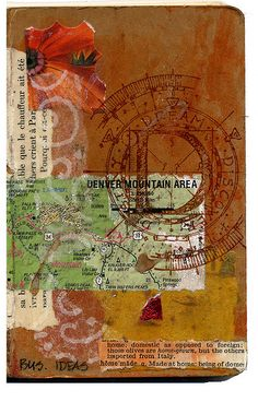 Cover of a Moleskine journal. {Moleskin + maps + collage = a few of my favorite things! Art Journal Pages, Art Journaling, Journal Covers, Mixed Media Collage, Collage Art, Altered Books, Altered Art, Photocollage, Creative Journal