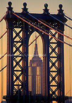 Empire State Building, silhouette Manhattan Bridge, NY, NY | Andy Caulfield