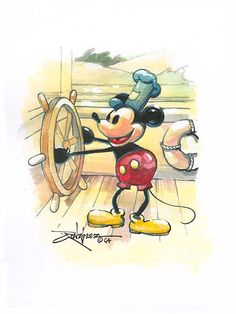 """""""At the Helm"""" by Rodel Gonzalez - Original Guache on Paper, Disney Images, Disney Pictures, Disney Winnie The Pooh, Disney Love, Mickey Minnie Mouse, Disney Mickey, Disney Magical World, Mickey Mouse Steamboat Willie, Disney Fine Art"""