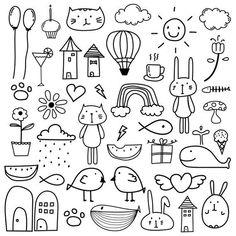 Hand Drawn Doodle Kids Clipart, Doodle Clipart For Kids, Doodle Art, Cat Clipart,Gift Box Easy Doodle Art, Doodle Art Drawing, Doodle Sketch, Doodle Kids, Drawing Drawing, Easy Art, How To Doodle, Simple Art, Doodle Box