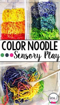 Color and Shape Sensory Play Ideas: Rainbow Noodles - Fall Crafts For Toddlers Sensory Bottles, Sensory Bins, Sensory Activities, Sensory Play, Preschool Activities, Sensory Table, Preschool Prep, Indoor Activities, Fall Crafts For Toddlers