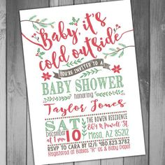 Baby Shower Invitation Christmas Baby Shower By CLaceyDesign