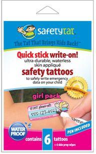 TravelKiddy - Safety Tats, $9.99 (http://www.travelkiddy.com/safety-tats/)